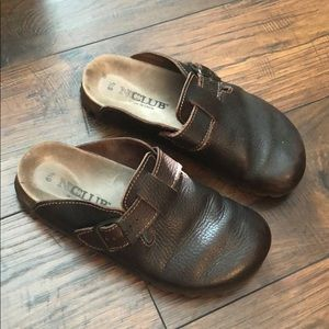 Chocolate brown slip on shoes